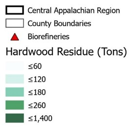 Legend for map of locations of three biorefineries located in Central Appalachia area.