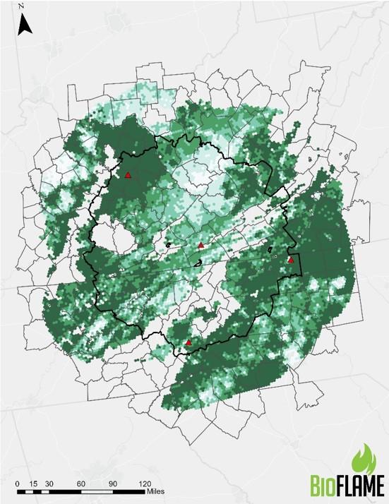 Map showing locations for five biorefineries in the Central Appalachia area. Locations of biorefineries are Surry, North Carolina; Buncombe, North Carolina; Morgan, Kentucky and Greene, TN.