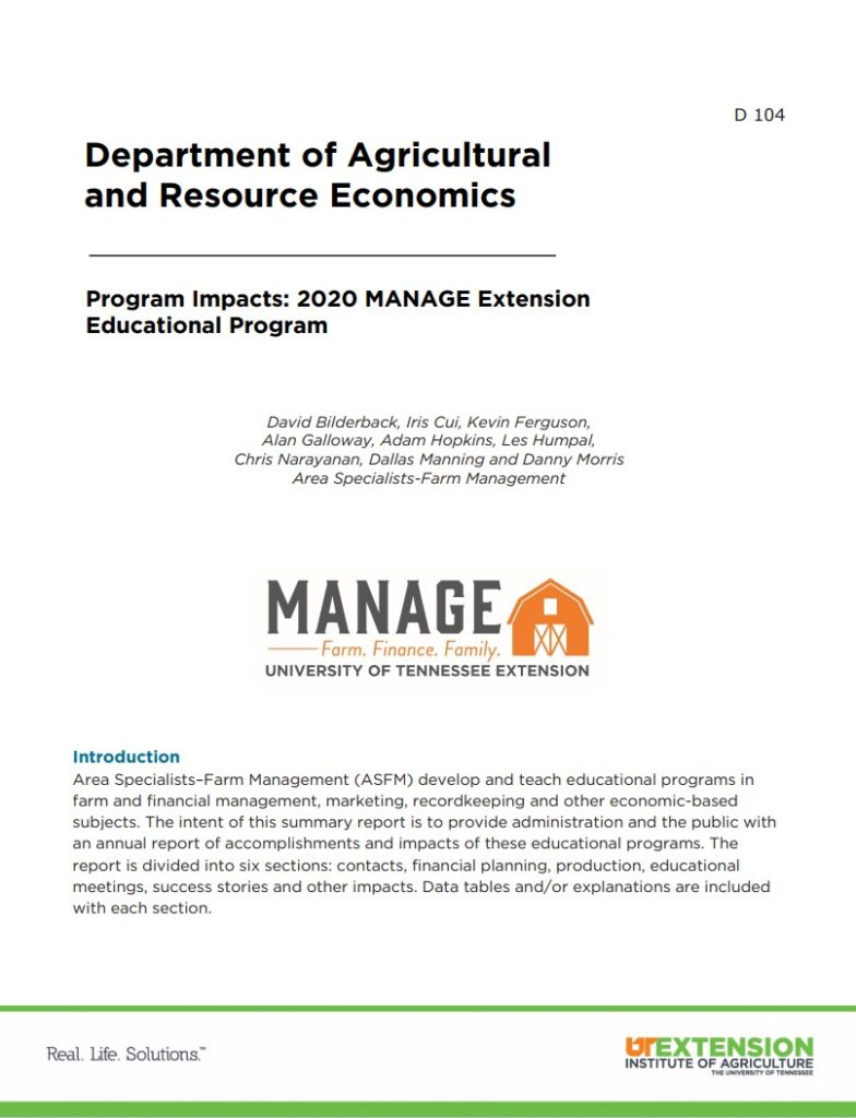 Cover of Publication - 2021 MANAGE Program Impacts
