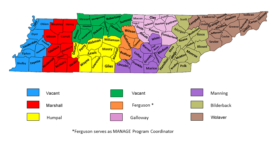 Map of Farm Management Area Specialists Territories
